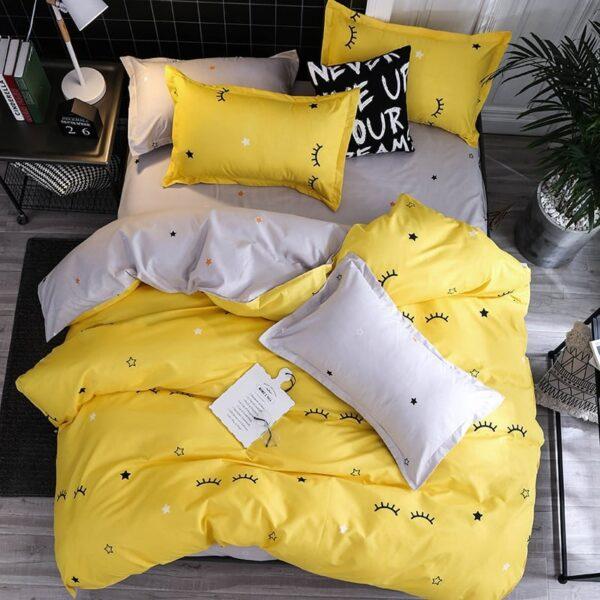 Lenjerie de pat pentru 2 persoane, bumbac FINET, set de 6 Piese, Multicolor, BF206