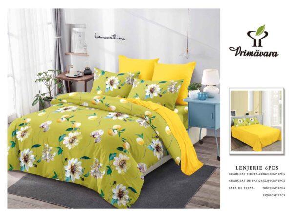 Lenjerie de pat pentru 2 persoane, bumbac FINET, set de 6 Piese, galbena, cu flori