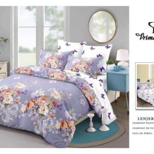Lenjerie de pat pentru 2 persoane, bumbac FINET, set de 6 Piese, indigo, cu model floral