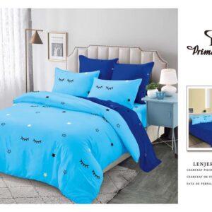 Lenjerie de pat pentru 2 persoane, bumbac FINET, set de 6 Piese, in doua culori, bleu ciel si albastru marin