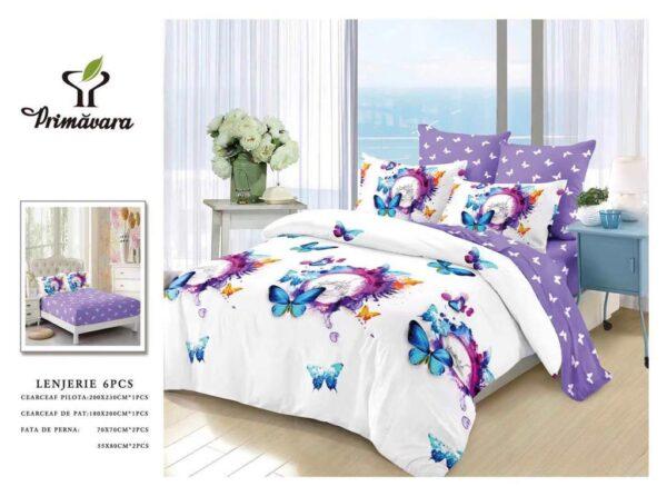 Lenjerie de pat pentru 2 persoane, bumbac FINET, set de 6 Piese, in doua culori, alb si mov, cu model floralază)