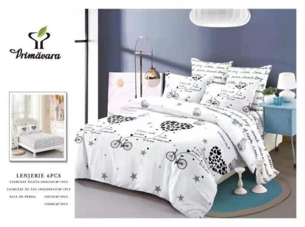 Lenjerie de pat pentru 2 persoane, bumbac FINET, set de 6 Piese, model stilizat