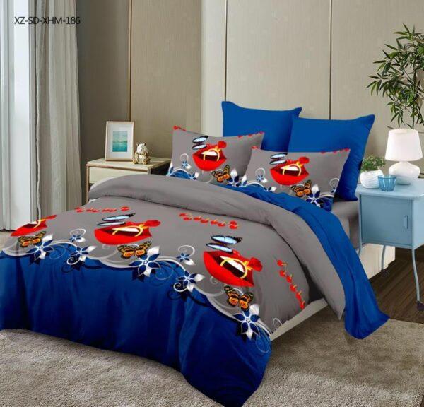 Lenjerie de pat pentru 2 persoane, bumbac FINET, set de 6 Piese, model cu maci de camp pe fundal albsatru si gri