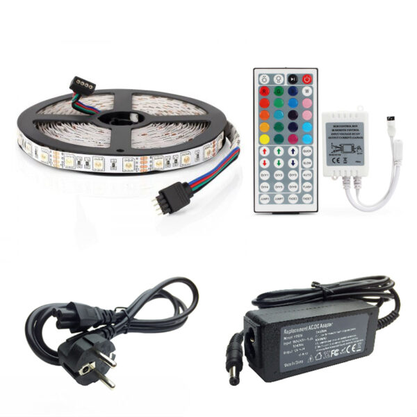 Banda LED multicolora RGB 5050 - 5 metri, include telecomanda 44 taste + adaptor + sursa