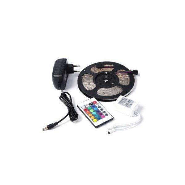 Banda LED multicolora, RGB SMD 5050, Pentru Interior si Exterior, cu Telecomanda 24 Taste