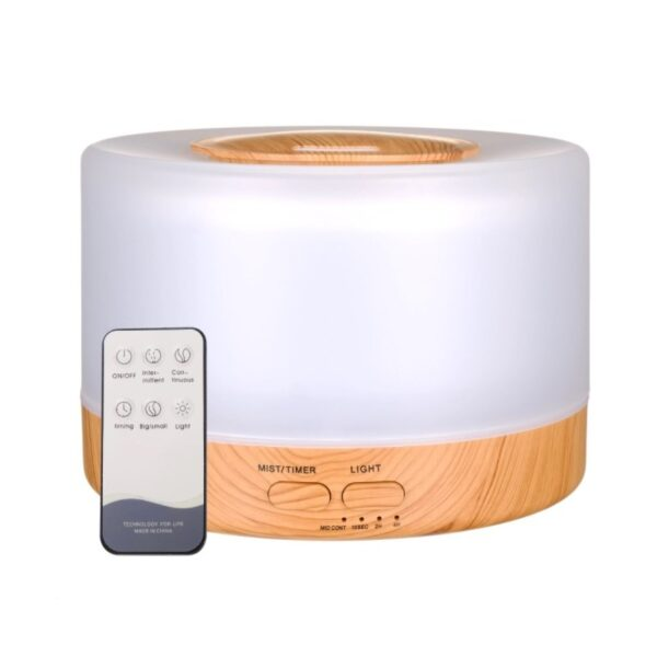 Difuzor aromaterapie cu ultrasunete, telecomanda, lumina LED 7 culori, 500 ml, lemn deschis